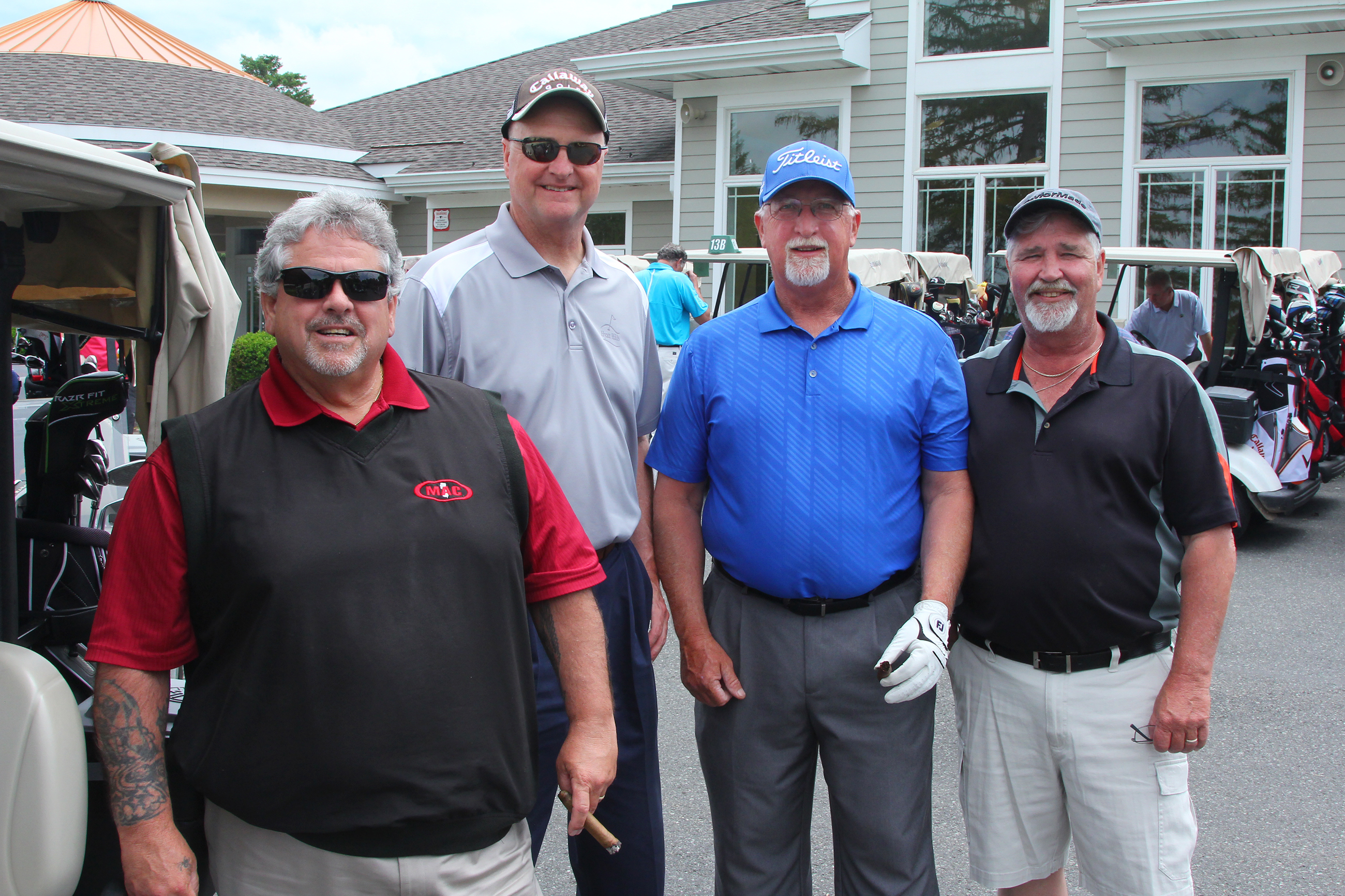 Wayne P. DeAngelo Golf Outing, May 24, 2017, Mountain View Golf Club. Insulators Local 32 ( North Jersey) L-R, Mike Schneider, John Dwyer, Ray Eilbach and Bob Kuebler.